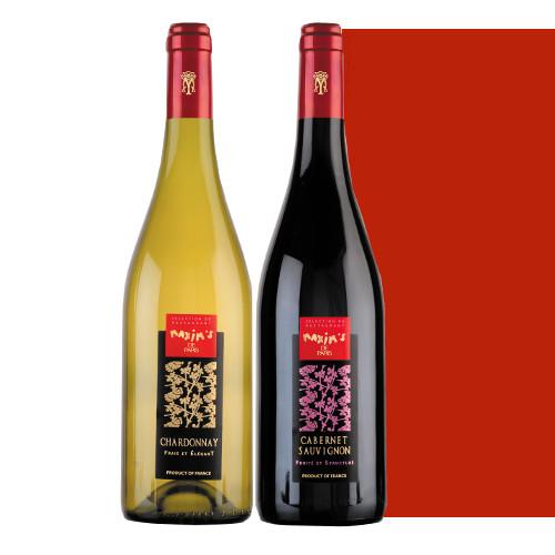 フランス産 赤ワインと白ワインのセット マキシム・ド・パリ「カベルネ・ソーヴィニヨン/シャルドネ」750ml ギフトボックス入り