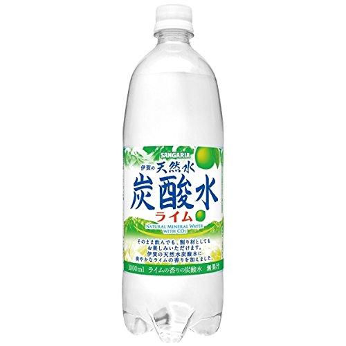 サンガリア 伊賀の天然水炭酸水ライム 1L 【12本セット】